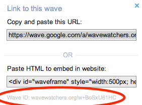 Screenshot of how to get to a Public Wave from an Apps Account in Google Wave. Getting Wave ID to embed a Google Wave