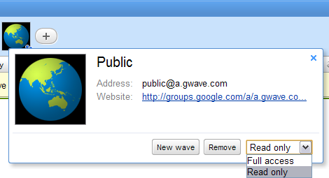 Screenshot of how to create a read-only public wave in Google Wave