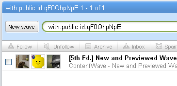 Screenshot of how to get to a Public Wave from an Apps Account in Google Wave. Searching for with:public id:qF0QhpNpE